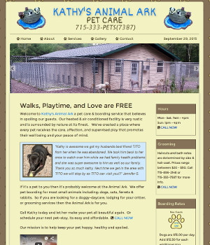 image of kathys animal ark website