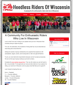 Image of Heedless Riders of Wisconsin Website