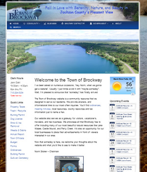 front page for town of brockway wisconsin
