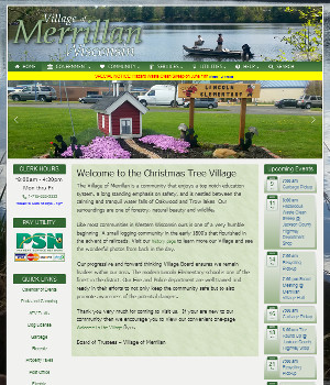 frontpage snapshot of the village of merrillan website
