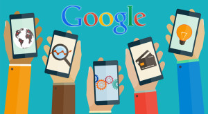 doodle of hands holding mobile devices with google overhead
