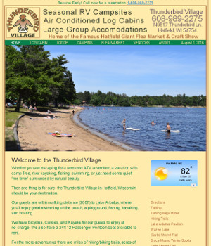 Snapshot of the home page for Thunderbird Village in Hatfield Wisconsin