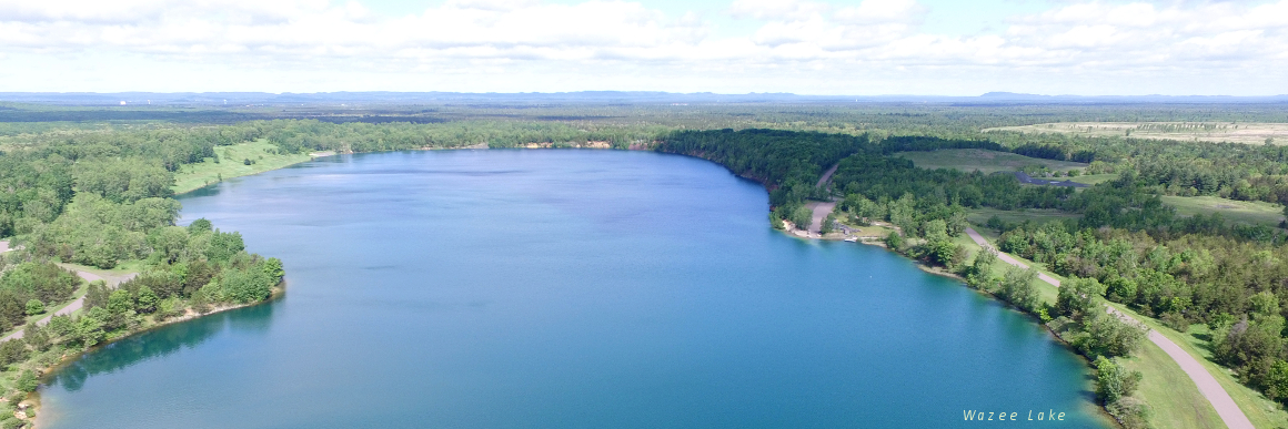 aerial view of lake wazee in the town of brockway