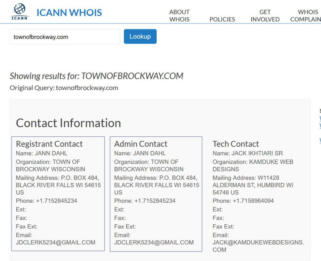 icann whois listing